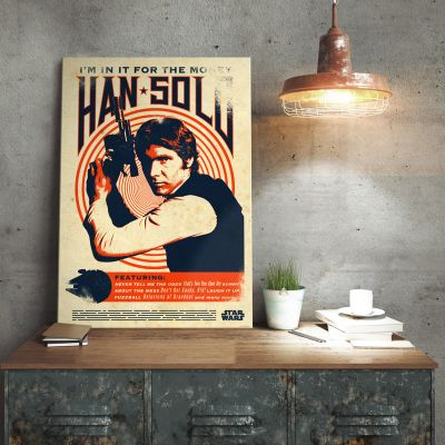Pósteres - Póster metálico Star Wars - Han Solo Retro